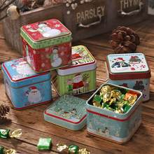 Square Bump Candy Box Christmas Decorations Storage Iron Box Christmas Candy Cans Children'S Gift Bucket Hat Cover Printing(China)