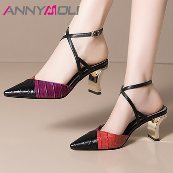 ANNYMOLI Cross Strap Women Shoes Real Leather High Heel Slingbacks Pumps Pointed Toe Thick Heel Footwear Summer Black Size 43
