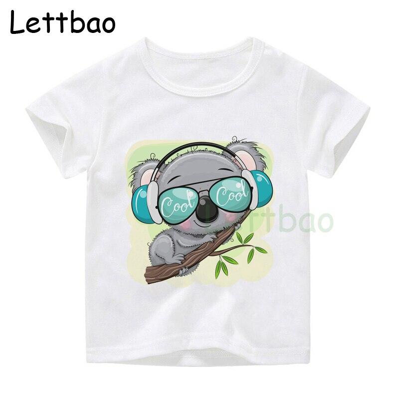 Детские топы с мультяшным рисунком Коала на звездах для мальчиков и девочек, футболки с мультяшным рисунком, смешные футболки, детская летн...