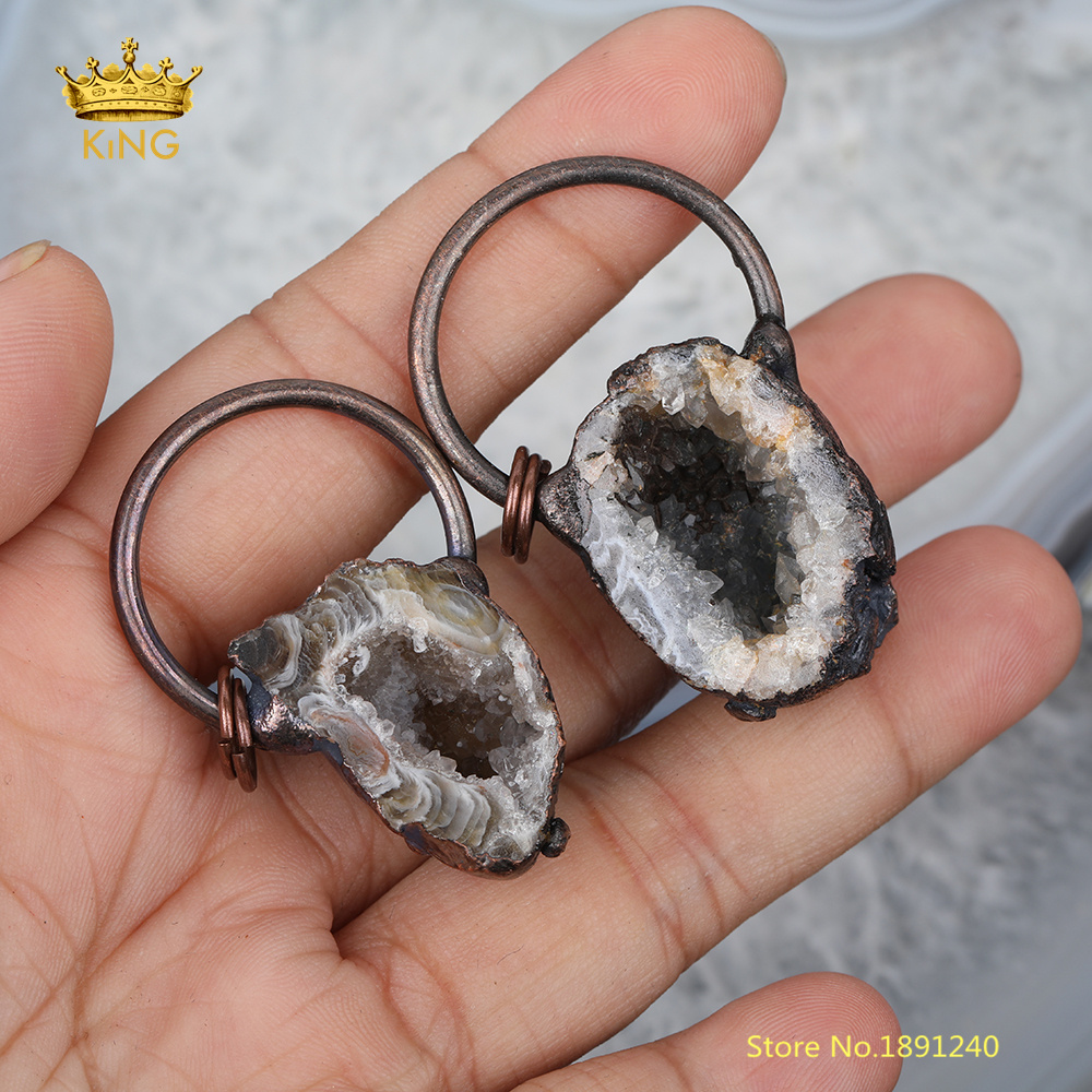 5pcs Rock Druzy Geode <font><b>Pendant</b></font>,<font><b>Raw</b></font> Drusy Agates Plating Antique Brass Stones Charms Key Accessories Findings image