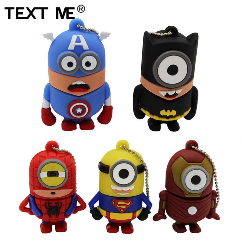 TEXT ME 64GB Catoon Superman Batman Spiderman Captain America Usb Flash Drive Usb 2.0 4GB 8GB 16GB 32GB  Pendrive Gift