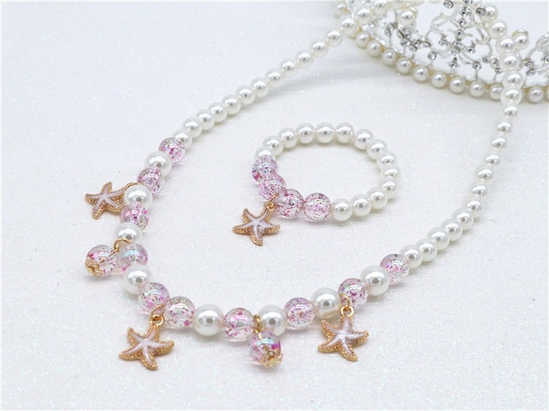 New Children DIY Decorations Ocean Shell Starfish Beads Necklace Bracelet Set Princess Pearl Suit Necklace Girl Chain