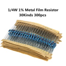 30 valores x10pces = 300 pces 1/4w metal filme resistor kit 1% resistor sortido kit conjunto de resistência 10 -1m ohm