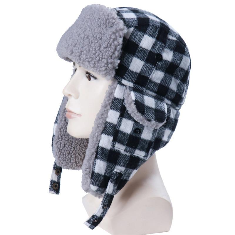 Autumn&Winter Bomber Hats Plush Earflap Lamb wool Plaid Snow Cap Pilot Earflap Trapper Northeast warm hat Lamb wool Lei Feng hat