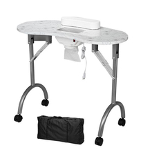 90cm * 40 cm* 75cm Portable MDF Manicure Table Spa Beauty Salon Equipment Desk with Dust Collector & Cushion & Fan White