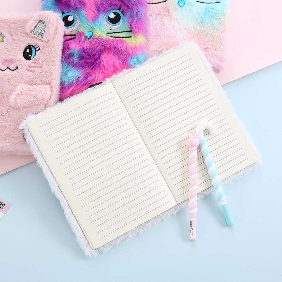 Элегантный меховой студенческий блокнот с милой пандой, студенческий мультяшный блокнот с линией, креативный Дневник для школы, Еженедельный план, Примечание
