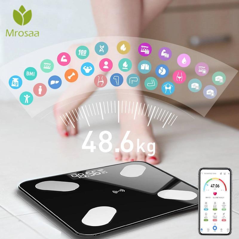Mrosaa 26*26cm Body Fat Scale Smart BMI Scale LED Digital Bathroom Wireless Weight Scale Balance Bluetooth APP Android IOS