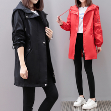 Plus size Trench coat women Black Red 2020 Spring autumn Medium Long Loose Hoode