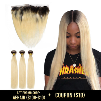 ombre 613 bundles with frontal T1B colored human straight brazilian hair weave extension remy 30 inch long