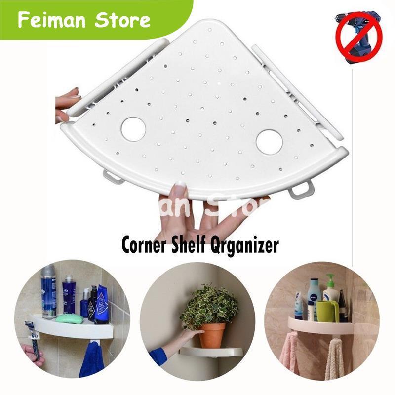 2019 Bathroom Shelf Qrganizer Snap Up Corner Shelf Caddy Bathroom Plastic Corner Shelf Shower Storage Wall Holder Shampoo Holder