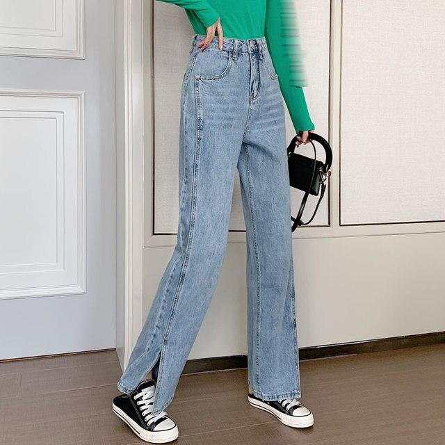 Women's Jeans 2020 Spring Korean High Waist Split Wide Leg Pants Mop Pants Trousers
