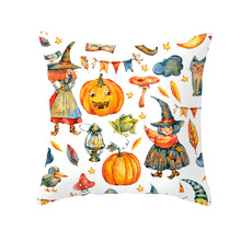 Lychee DIY Halloween Pumpkin Series Pillow Cases Colorful Polyester Peachskin 45x45cm For Bedroom Home Office