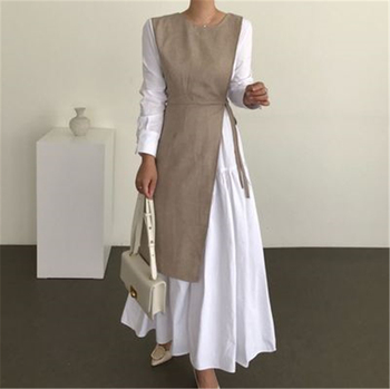[EWQ]Women Clothing Loose Fashionable Female Outfit French Style Patchwork Autumn Maxi Dress Ladies Solid Long Sleeve Khaki W052 1
