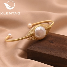 XlentAg Original Design Handmade Natural Freshwater Pearl Bangle For Women Wedding Gift Fine Jewelry Pulseira Feminina GB0113
