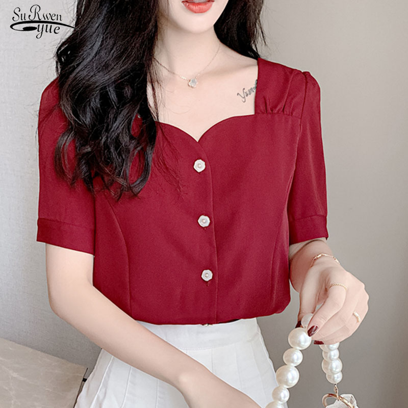 Blusas Summer 2020 Woman's <font><b>Shirts</b></font> Short Sleeve Tops Blouse Sweet Chiffon Blouse <font><b>Wine</b></font> <font><b>Red</b></font> Korean Solid All-match Clothing 10052 image