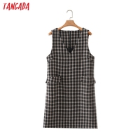 Tangada 2021 Autumn Winter Fashion Women Plaid Woolen Dress Sleeveless Office Ladies Mini Dress 2M203 1