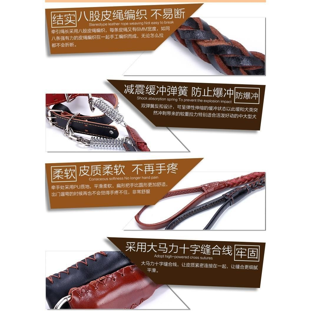 Medium Large Dog Dog Hand Holding Rope With Golden Retriever Labrador Cow Leather Collar Dog Rope Dog Chain Supplies