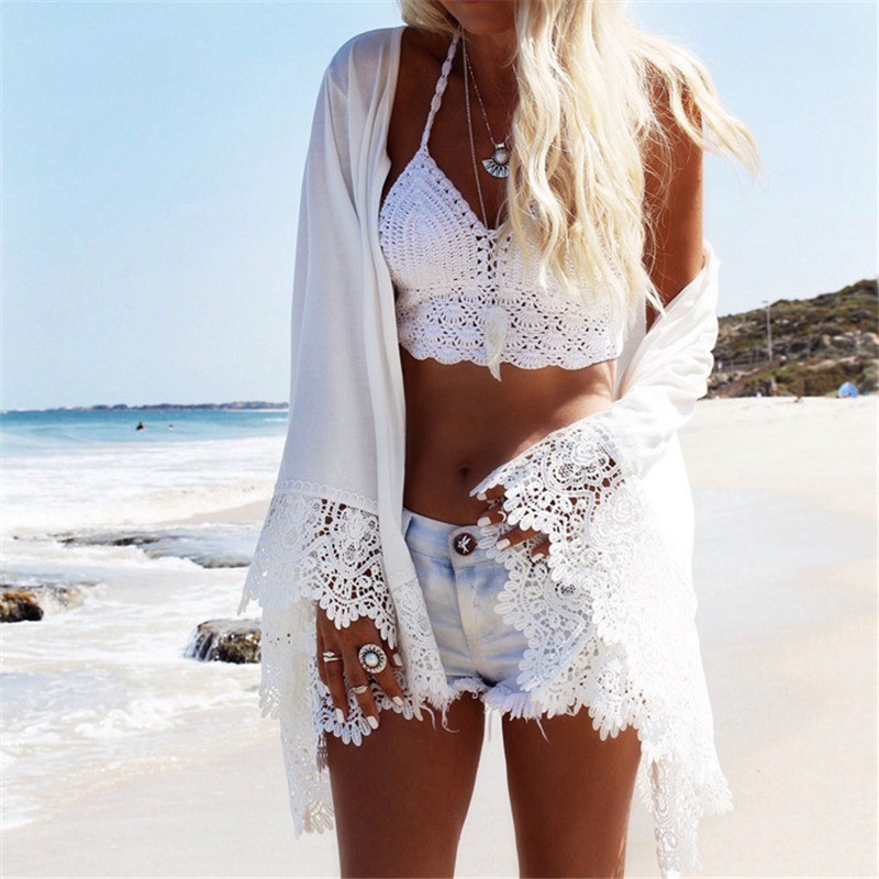 Summer Sexy Beach Shirts Women Casual Boho Kimono Cardigan White Lace Chiffon Loose Printed Blouse Shirt Womens Tops Beachwear