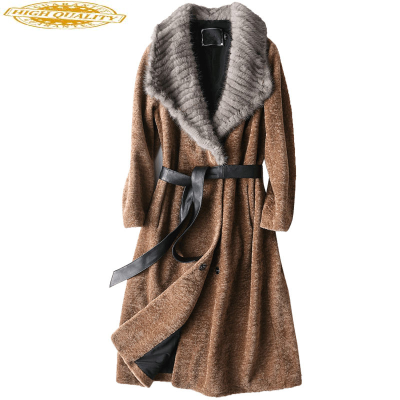 2020 Luxury Sheep Fur Coat Female Thick Winter Jacket Women Wool Coats Natural Mink Fur Collar Long Slim Outwear 17069