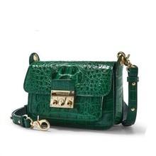 gete  new  Thailand  crocodile leather  Female bag  Inclined shoulder bag  Single shoulder bag  fashion  lock  Little  women bag