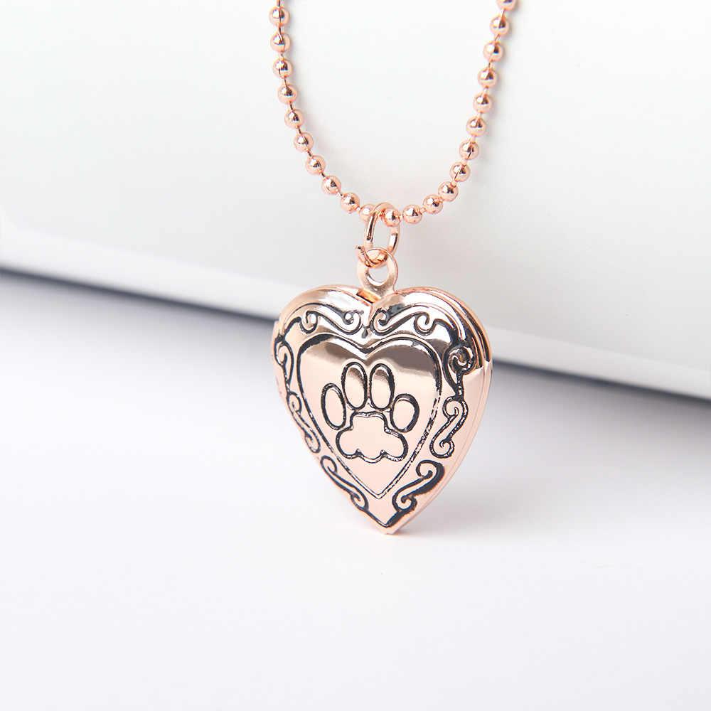 1 قطعة الكلب باو طباعة قلادة إطار صور الحيوان الذهب الفضة اللون الذاكرة المنجد القلب قلادة مجوهرات شخصية الساحرة هدية