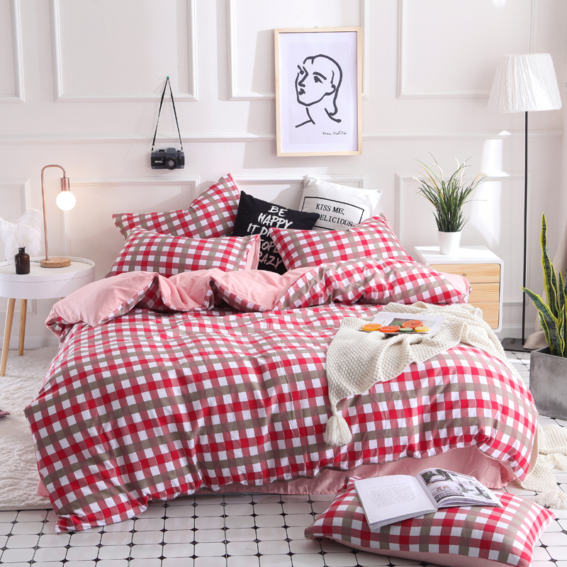 brief plaid 4pcs Kid Bed Cover Set Duvet bedding set Adult Child Sheets And Pillowcases