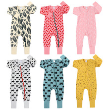 Spring Long Sleeve Animals Print Baby Boys Girls Rompers Cotton Jumpsuits Kids Clothes Climb Suits Suttont Zipper Nightclothes