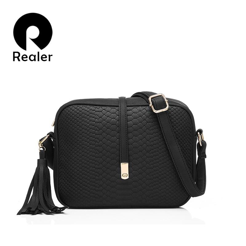 REALER Women Small Messenger Bags Casual Shoulder Bag Fashion Retro Tassel Handbag Female Zipper Crossbody Bag Ladies Totes New