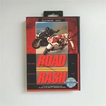 Road Rash 소매 상자가있는 미국 커버 Sega Megadrive Genesis 비디오 게임 콘솔 용 16 비트 MD 게임 카드