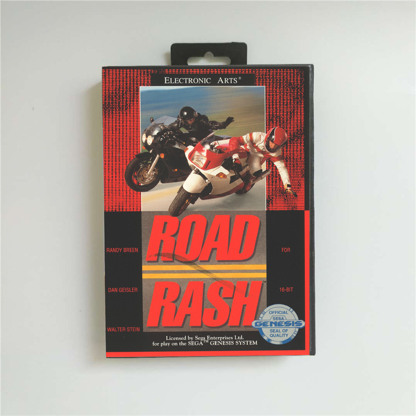 Road Rash - USA Cover With Retail Box 16 Bit MD Game Card For Sega Megadrive Genesis Video Game Console