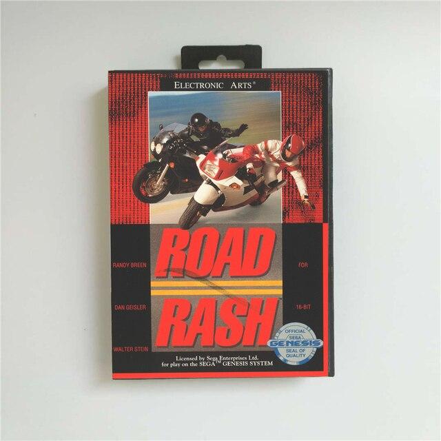 Road rash usaカバーとリテールボックス 16 ビットmdゲームカード用メガジェネシスビデオゲームコンソール