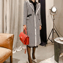 2019 winter new Korean fashion in the long section of the spell leather houndstooth wool coat