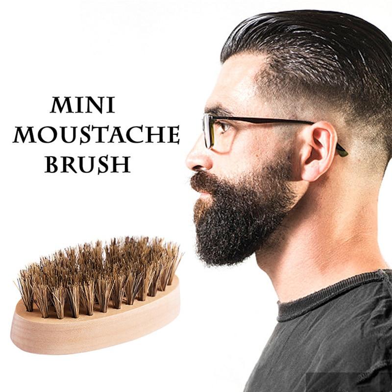 1PCs Mini Portable Men Boar Bristle Beard Mustache Styling Brush Military Hard Round Wood Handle Beard Shaving Brushes 8.5*4.5cm