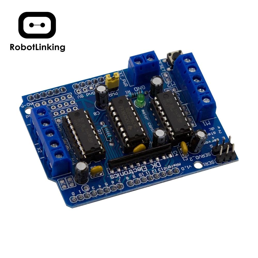 Щит управления мотором L293D, плата Двойного расширения для Arduino Duemilanove, плата расширения моторного привода, бесплатная доставка