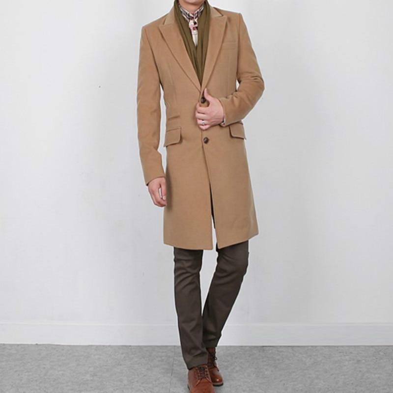 ZOGAA 2020 new men coats Casual Long Cotton mens wool coat 4 color men coat winter Solid mens trench coat jacket plus size S-3XL