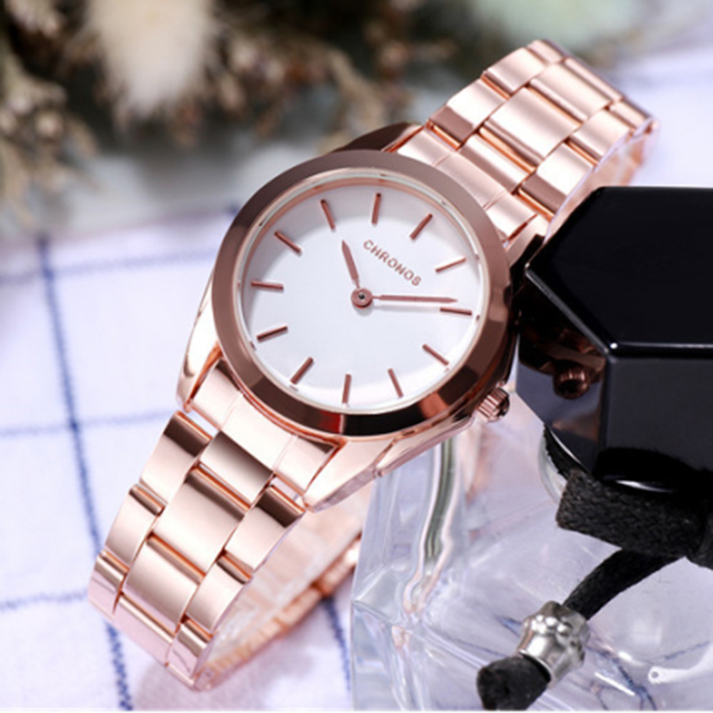 CHRONOS New Women Luxury Watches Waterproof Hardlex Dials Stainless Steel Folding Strap Ladies Fashion Wristwatch CH34