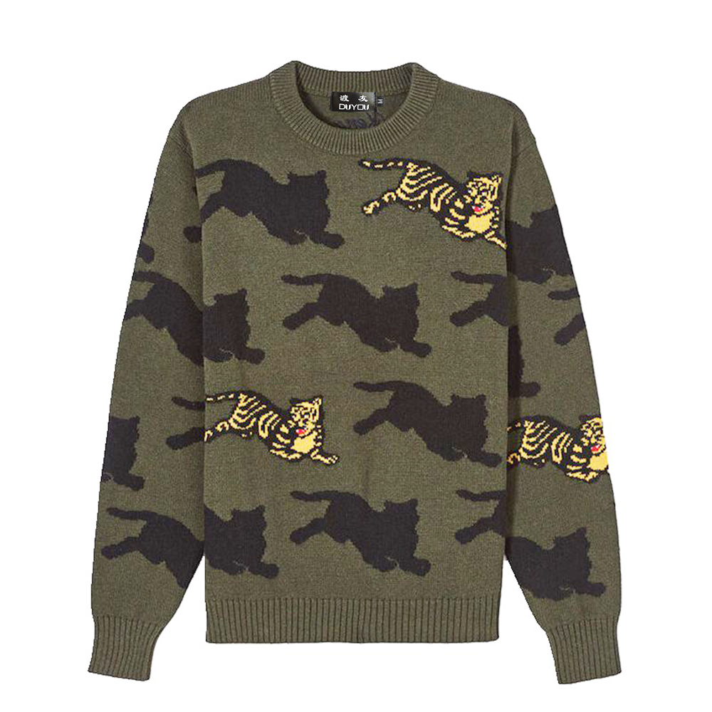 DUYOU 2019 New Autumn Winter Sweater Men Pullover Tiger Knitted  Sweater Male Casual Fashion High Quality Plus Size