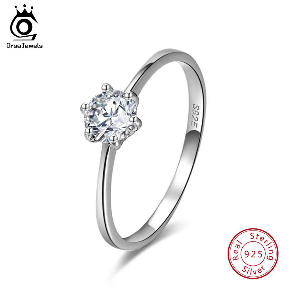 ORSA JEWELS Real 925 Sterling Silver Women Solitaire Rings Cubic Zircon Female Wedding Ring Fashion Jewelry For Any Party SR116-in Rings from Jewelry & Accessories