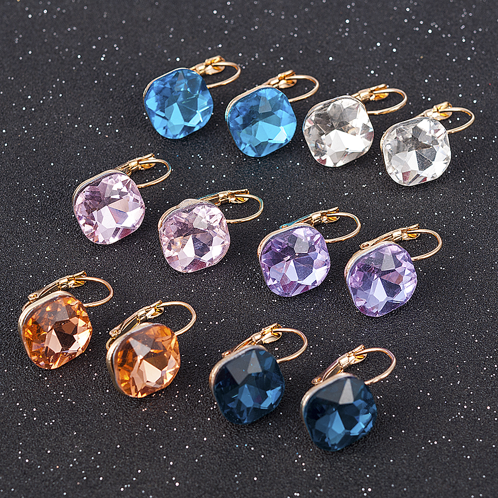 Fashion Gold Color Earring For Women Crystal Cubic Zirconia Stud Earrings Stone Pendientes Mujer Moda Minimalist Earrings