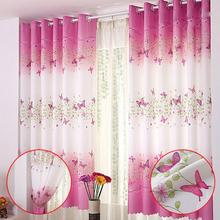 1pc Country Style Flower Butterfly Window Curtains for Living Room Home Bedroom Curtain Girl Princess