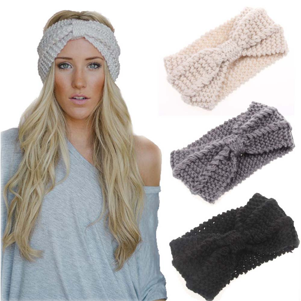 Oaoleer Hair Accessories Winter Warmer Ear Knitted Headband Turban For Lady Women Crochet Bow Wide Stretch Hairband Headwrap