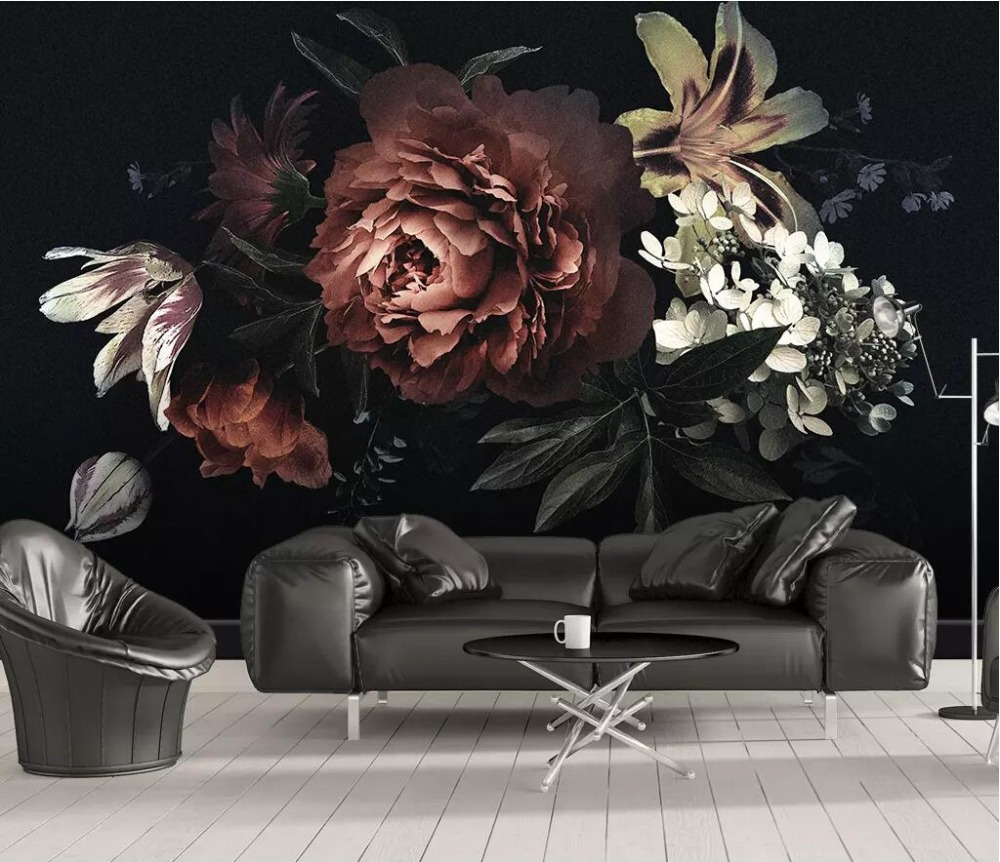 CJSIR Custom Photo Wallpaper For Walls Modern Minimalistic Black Peony Lily Flowers Mural Wallpaper Bedroom 3D Wall Paper Decor