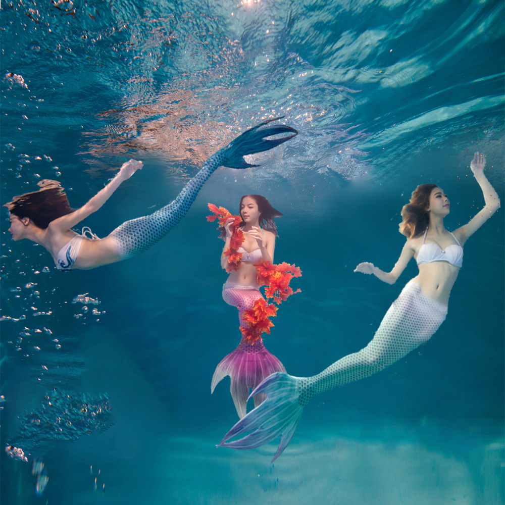 5 stück Mädchen Meerjungfrau Schwanz Kostüm Badeanzug Erwachsene Schwimmen Bikini Set Cosplay Aquarium Zeigen Realistische Meerjungfrau Schwanz Bh Panty Set