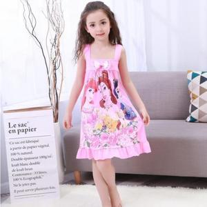 Vestido de noche de ocio para niños nuevo vestido de noche de princesa de verano de manga corta camisón acogedor de dibujos animados niño bebé vestido de dormir 2-12y
