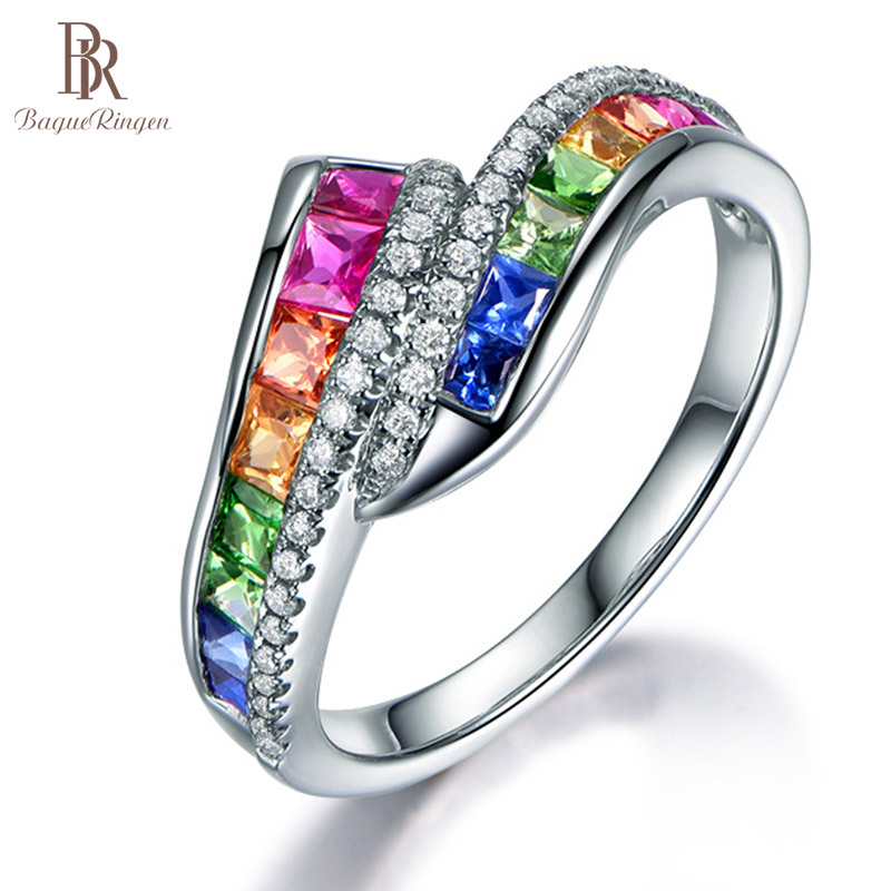 Bague Ringen Geometry Silver 925 Jewelry Colors Gemstones Ring For Women Special Style Rainbow Trendy Female Party Rings Gift