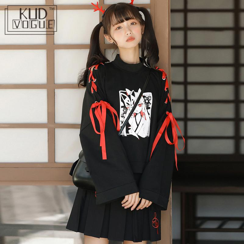Japanese Oversized Printed Anime Hoodie Women Gothic Street Cool Black Pullover Harajuku Girls Kawaii Comic Cropped Sweatshirt