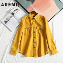AOEMQ Korea Style Jackets Yellow/Green Color Single-breasted Button Unisex Adults Appointment Outwear Cardigan Clothing