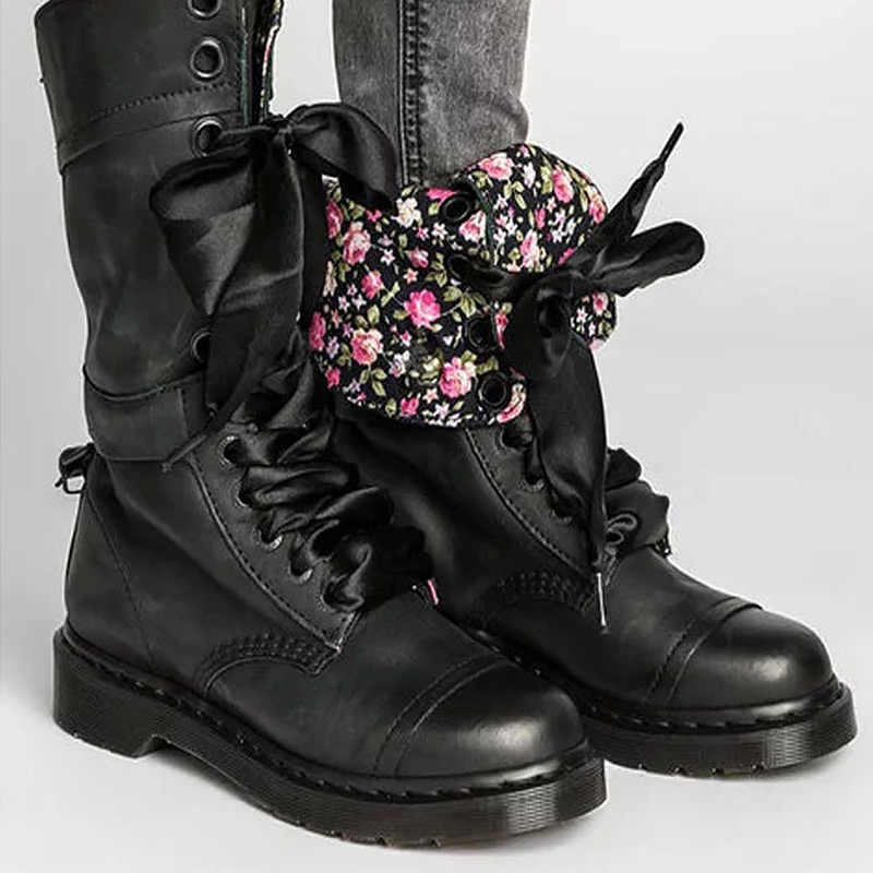 Moda motosiklet botları kızlar için bahar/sonbahar takozlar sağlam taban orta buzağı çizmeler kadın dantel Up düz rahat ayakkabılar kadınlar 2020