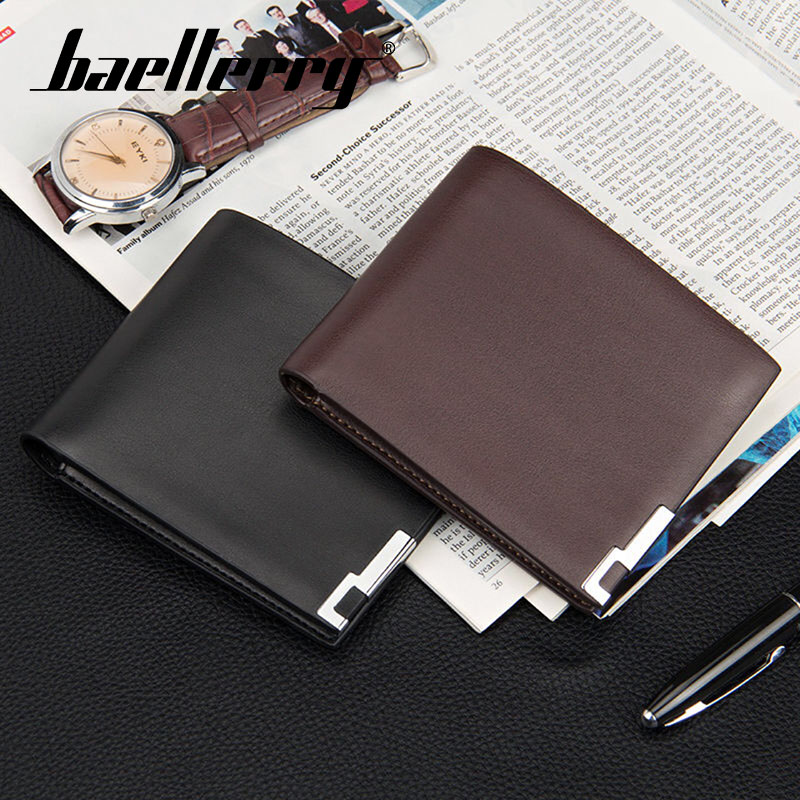 Baellerry Wallet 2019 New Men Fashion Short Solid Wallet PU Leather Clip Handbag Note Compartment Interior Compartment Wallet in Wallets from Luggage Bags