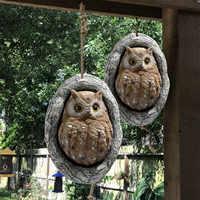 Escultura de buho para decoración del hogar, figurita de resina de dibujos animados, adorno artesanal de Animal de jardín para decoración al aire libre